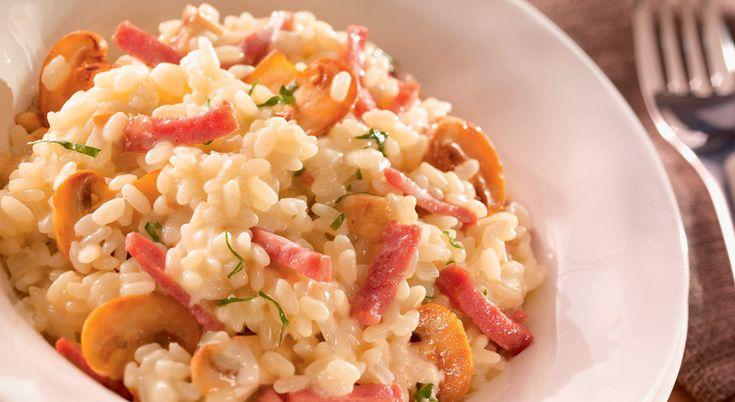 Recette de risotto aux champignons et bacon