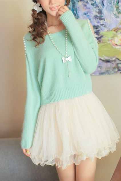 Mint Sweater with Pearl Shoulder Opening Holes and Vanilla Tutu-like Skirt with Bow Necklace.