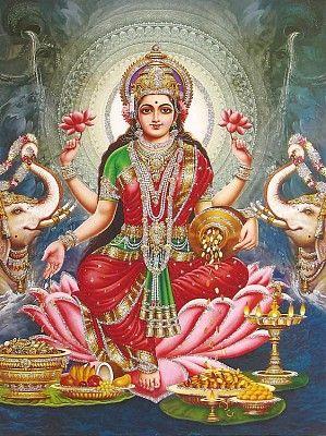 Lakshmi - Goddess of Wealth (Poster with Glitter)
