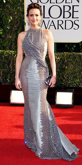 Carla Gugino was just eaten by a very sparkly snake. #goldenglobes