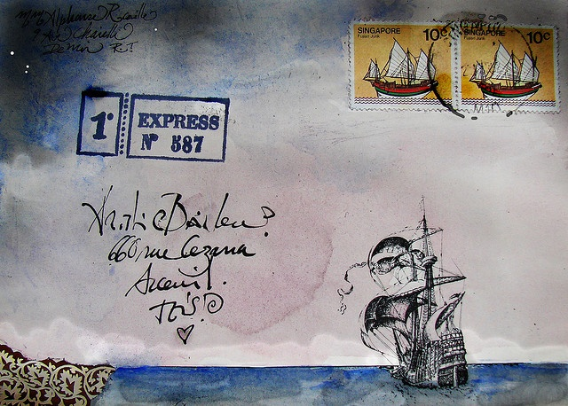 Sea Mail Lord Marmalade mail art -Briefmarken in das Bild auf dem Briefumschlag einbauen