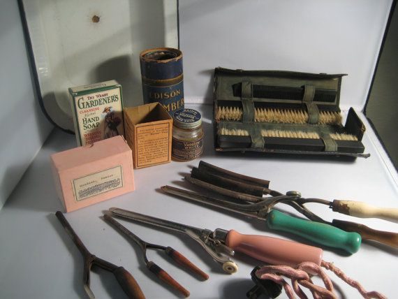 vintage hair curling   ... Vintage Hair Care Set Retro Curling Iron Comb and Brush Ebony Hair