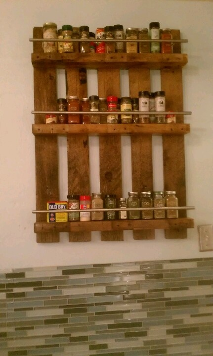 This is an idea I found here on Pinterest that I really wanted to try! Luckily my husband is awesome and made my dream a reality! :) Old pallet + cabinet bars from IKEA + 5 inch allscrews + sweat + awesomeness = 1 happy wife and a fabulous spice rack!