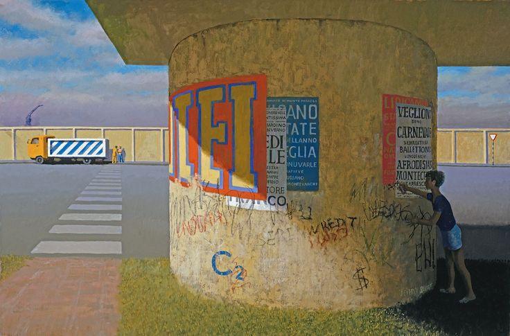 """Painting by Jeffrey Smart - """"The Graffiti Artist"""" (2006-07)"""