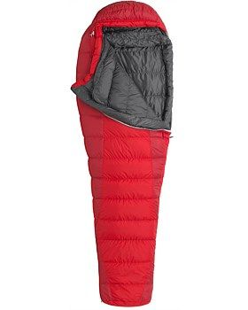 """For traveling light in summer, this ultra-light Marmot Always Summer Sleeping bag provides reliable transport to the Land of Nod at just over two packable pounds, and it doesn't skimp on features either. """"Feely"""" draw cords, updated baffle height and lining fabric, trapezoidal foot box with a heater pocket, and the included compression stuff and storage sack all add up to some seriously plush woodland digs. Buy Now…"""