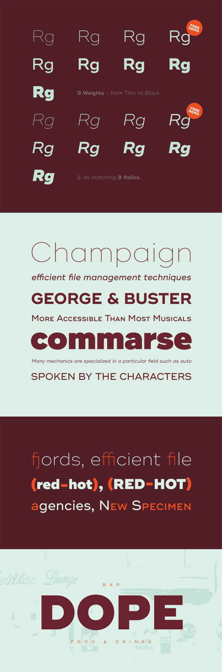 Ridley Grotesk is a modern sans-serif. It comes in nine weights with matching italics, designed with powerful opentype features in mind. Perfectly sui...