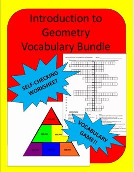 Introduction to Geometry Vocabulary: This zip file contains 3 files: a vocabulary worksheet, a PowerPoint Vocab Triangle game and a Smart Notebook Vocab Triangle game.The worksheet DOES NOT have a word bank because I find students just count the number of letters and don't use their knowledge of the words.