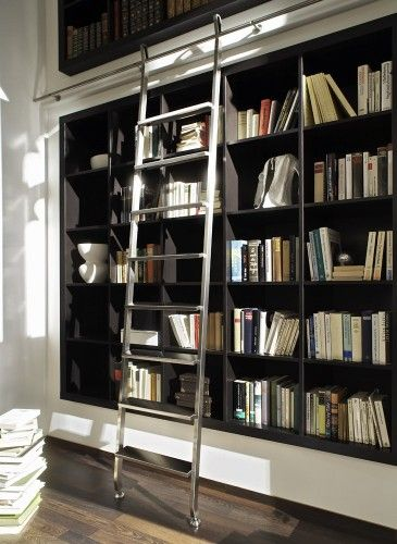 Great Recessed Bookshelf Is A Great Idea. Love The Metal Rolling Ladder