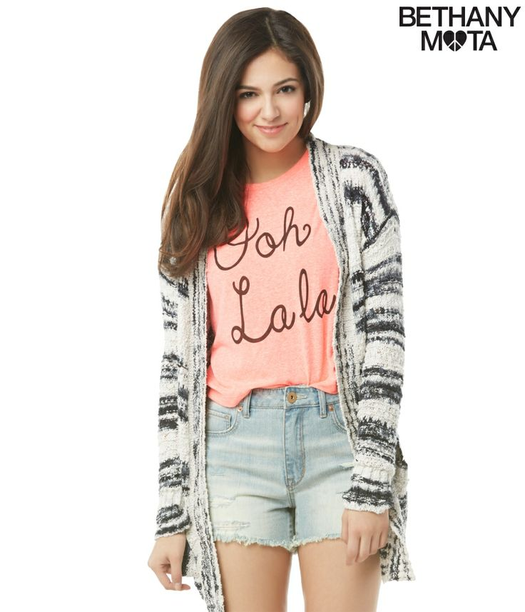 Striped Drape Cardigan from Bethany Mota collection at Aeropostale