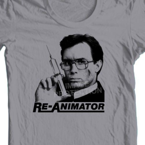 Re-Animator-Herbert-West-t-shirt-retro-horror-film-80s-100-cotton-graphic-tee
