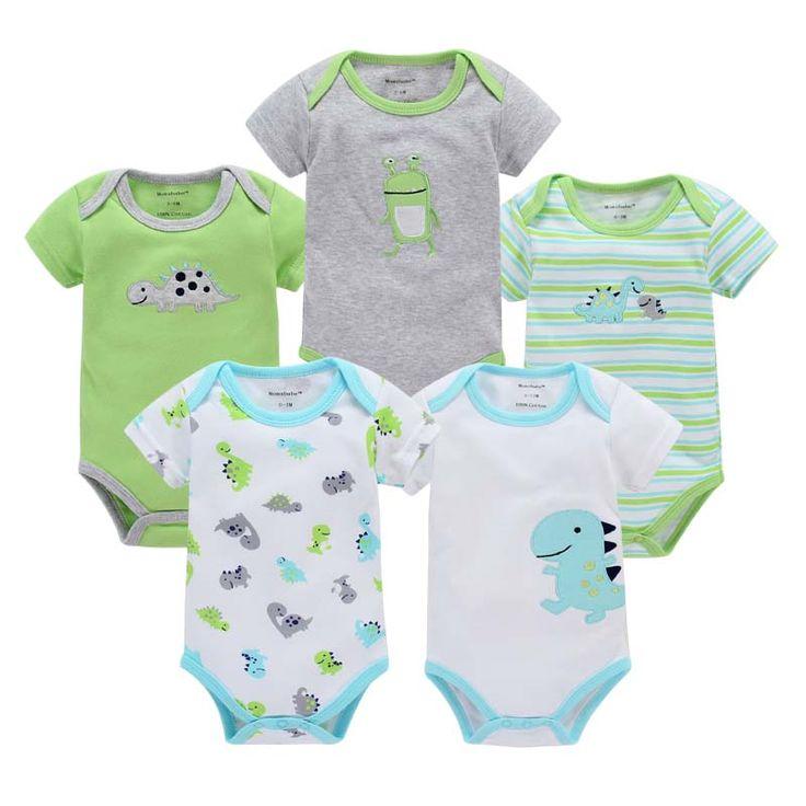 5pcs/lot Unisex 0-12months Baby Boys Girls Clothes Newborn Bebe Rompers Costume Short-sleeve Ropa De Bebe 100%cotton Clothing #Affiliate