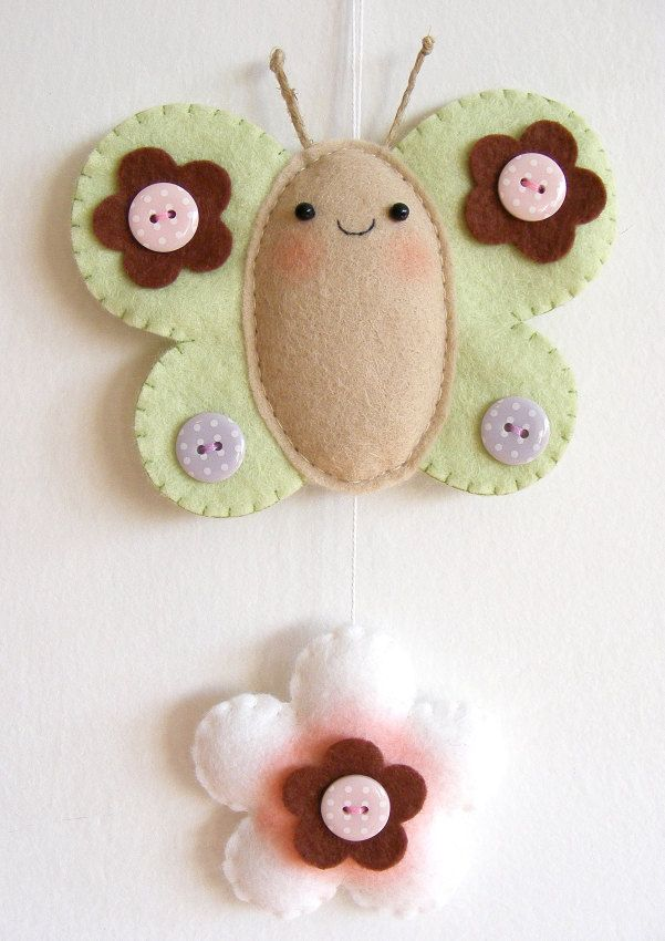 PDF pattern - Chubby butterfly with flower - DIY felt ornament, wall hanging decoration, baby crib mobile ornament. $6,00, via Etsy.