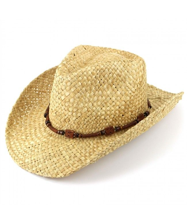 Hawkins Straw cowboy hat with wooden band - Natural (One size)