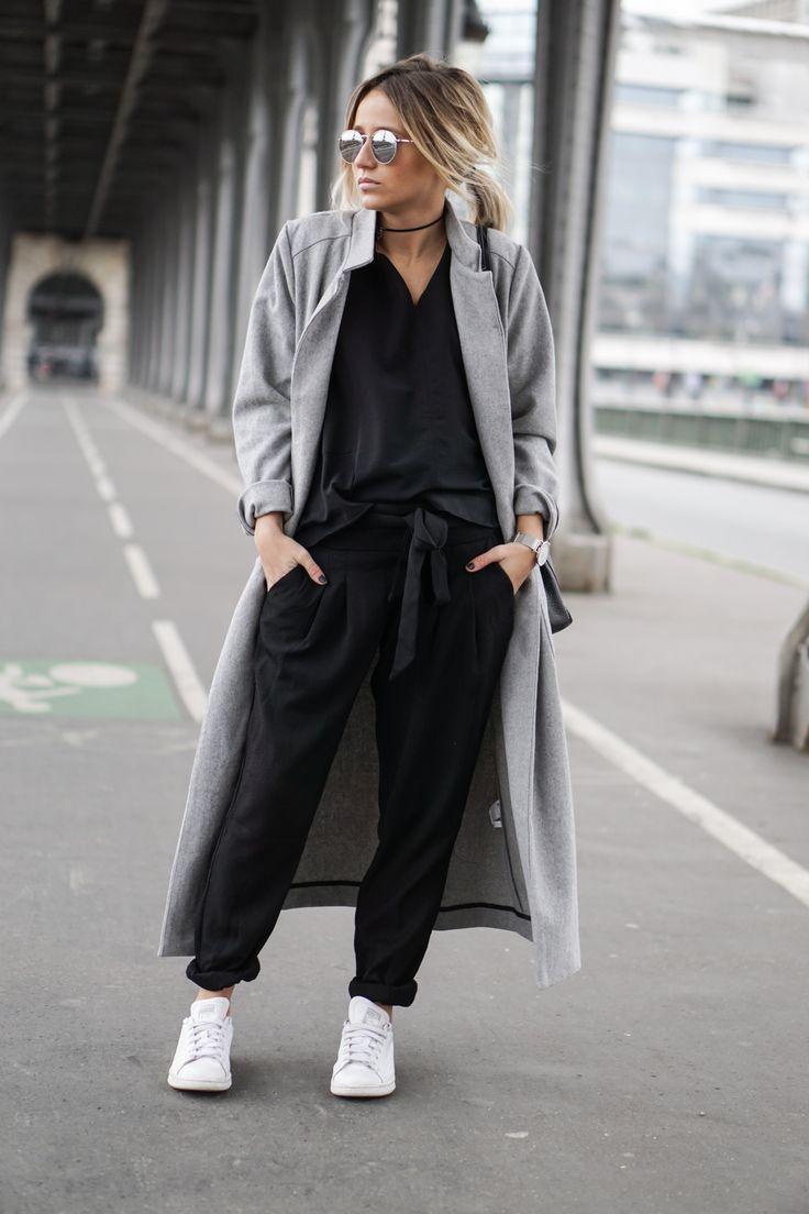 long grey coat / sneakers