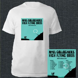 Noel Gallagher's High Flying Birds tour dates feb-mar 2018 white tees; Material 100% cotton, Basic style; Short sleeve;