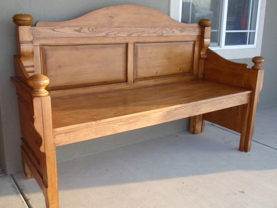 Old headboard/footboard, now a beautiful front porch bench! - love it!
