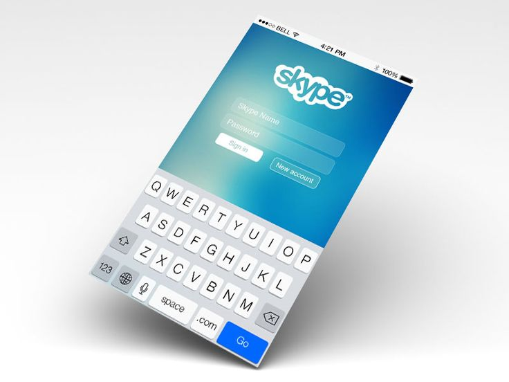 Skype login screen on iOS 7
