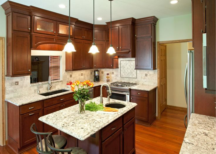 kitchen ideas with dark cherry cabinets - Google Search