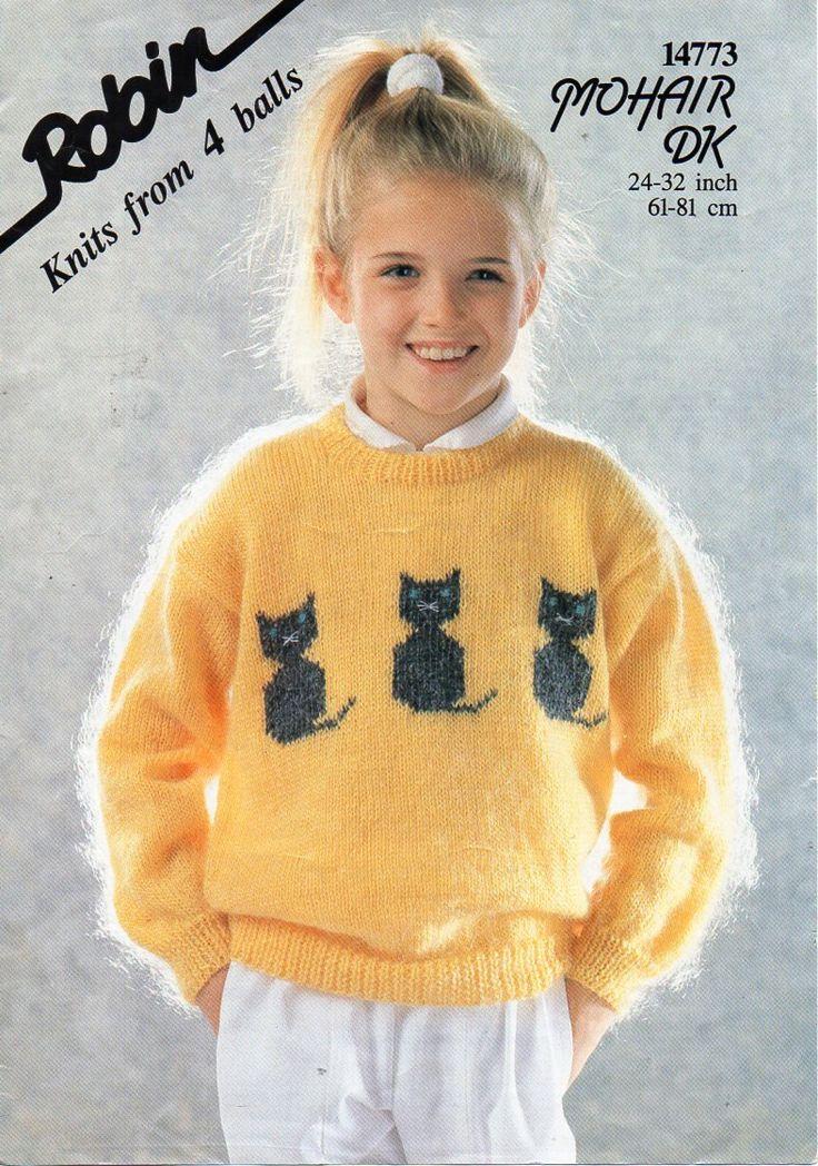 Childrens mohair cat motif sweater knitting pattern pdf dk - Cat jumper knitting pattern ...