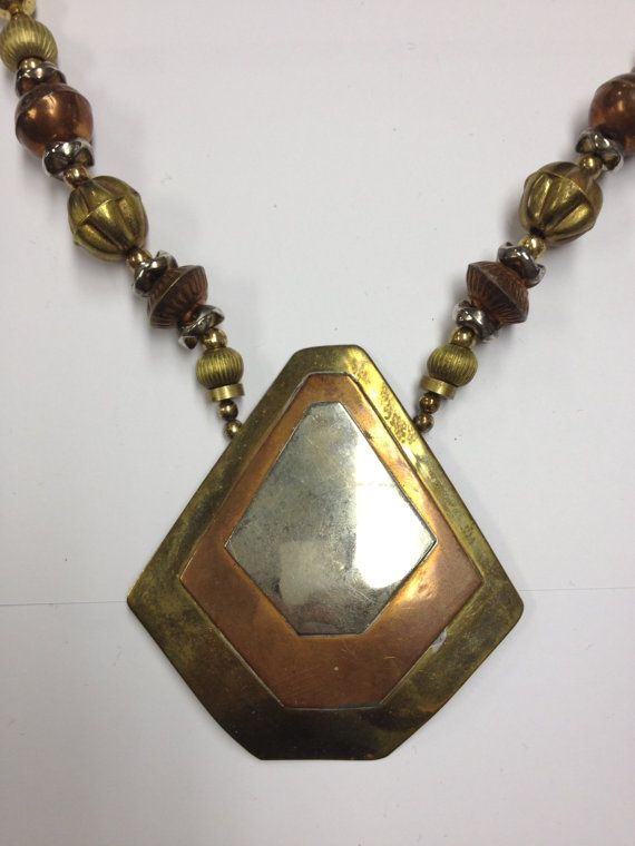Vintage 70s modernist copper and brass necklace by VintageSoulGeek, $30.00
