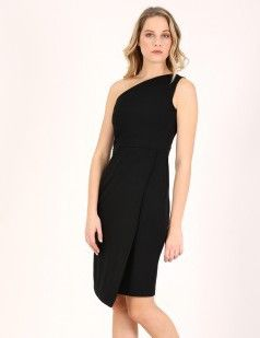 One shoulder midi dress - Black