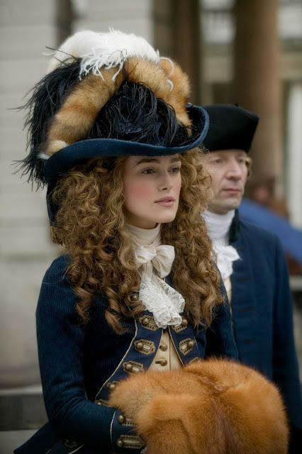 Keira Knightley in The Duchess. The fox tails on her hat show her support for Charles Fox.