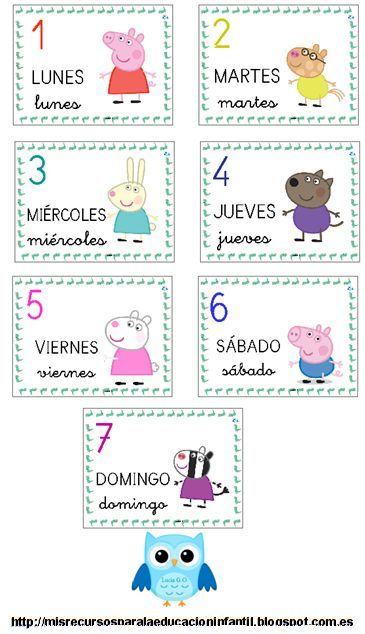 ¡Descárgalo ya! Los días de la semana - Els dies de la setmana - The days of the week - Peppa Pig - Láminas para el aula