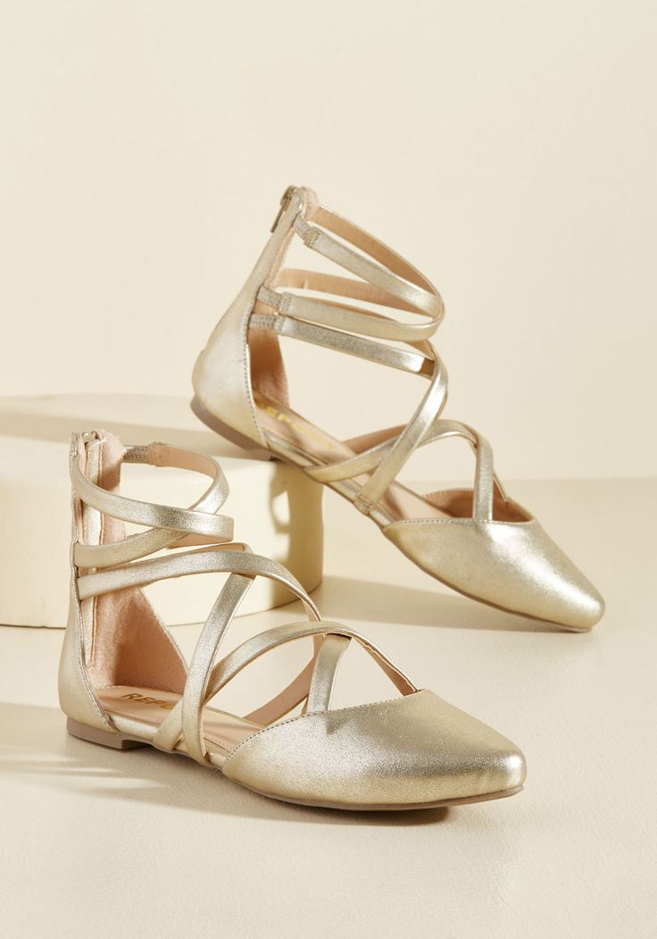 Elegant Intersections Flat. In the way your style meets at a defined point between chic and comfortable, these gold flats from Report Footwear do just the same!  #modcloth