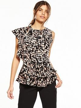 377c41dd158027 Guess Leopard Nina Ruffle Blouse - Painted Animal