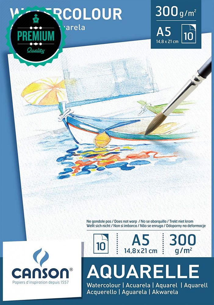 Canson 200005788 Watercolour Drawing Paper White A5 14 8 X 21