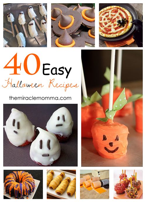 40 Easy Halloween Recipes - Great for kids!: Holiday Food, Fall Halloween, 40 Easy, Halloween Recipes, Halloween Food, Easy Halloween, Miracle Momma, Halloween Party, Halloween Ideas