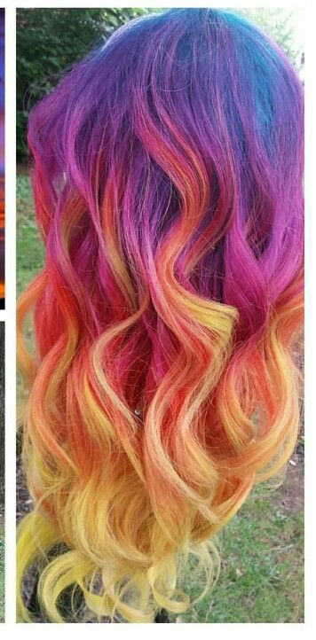 Purple red orange yellow dyed hair color inspiration @rebareeves22