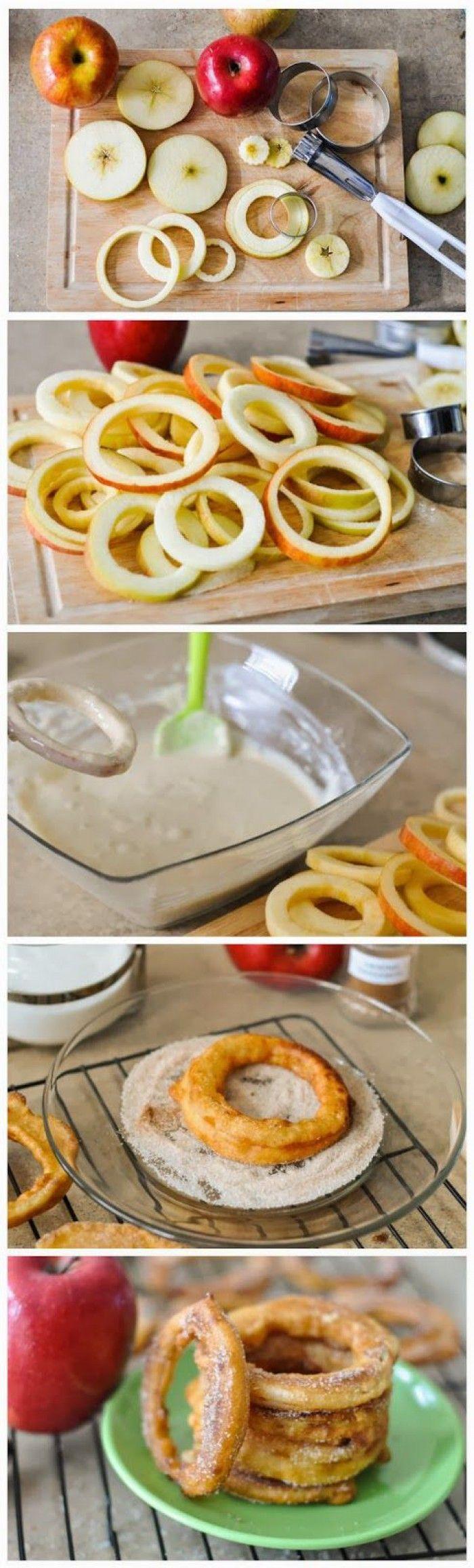 Apple Cinnamon Rings  ingrediënten: beslag  4 grote appels (ieder ras) 1 kopje bloem voor alle doeleinden 1/4 theelepel bakpoeder 2 eetlepels suiker 1/4 theelepel zout 1/8 theelepel gemalen kaneel 1 groot ei 1 kop (250 ml) karnemelk 1/2 kopje canola-olie, om te frituren  Kaneel Suiker Coating  3 eetlepels suiker 1 theelepel gemalen kaneel