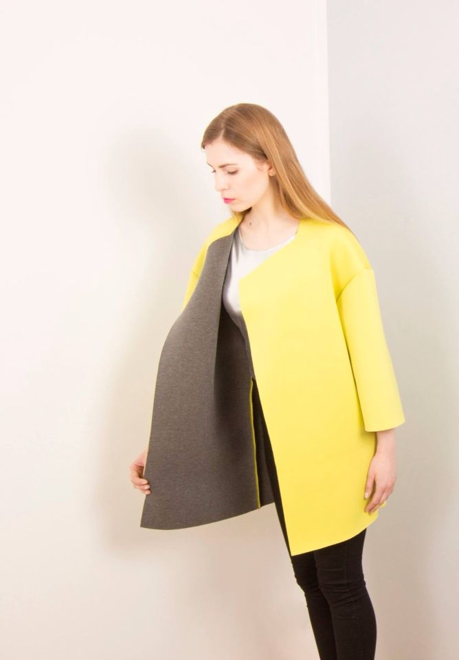 Lakola coat grey yellow