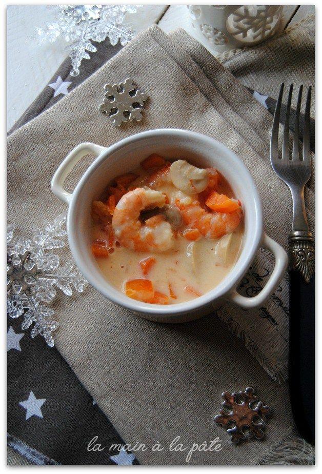 Blanquette de crevettes aux petits légumes -