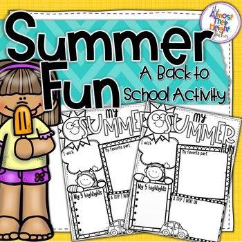 Back to School - Summer Fun Writing Activity