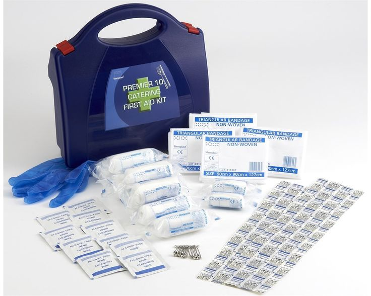 Steroplast Premier Catering First Aid kit 10 Person comes in a durable polypropylene blue box with a convenient carrying handle. This 10 Person Steroplast's Premier Catering First Aid kit is ideal for all catering businesses or general food preparation areas where first aid must be available.