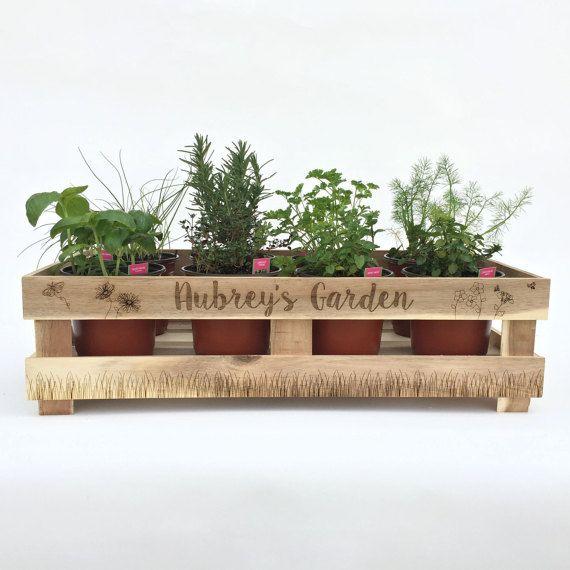 Indoor Herb Planter Box Part - 25: Indoor Planters Herb Garden Kit Garden Sign Personalized Garden,Wood  Crate,Gardener Gift,