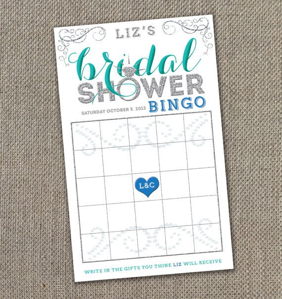 Bling Bridal Shower  Bingo Game 5x8 Digital by EventswithGrace, $20.00