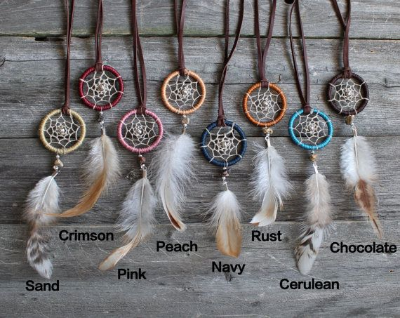 Dreamcatcher Necklace - Pick a color - Boho Jewelry - Small Dream Catcher - Hippie - Bohemian - Festival