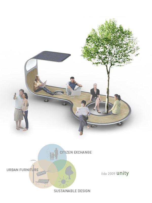 espacio para descansar, cargar en móvil y sociabilizar en la ciudad.