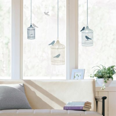 Bird cages  (Window Decal) Wall Decal