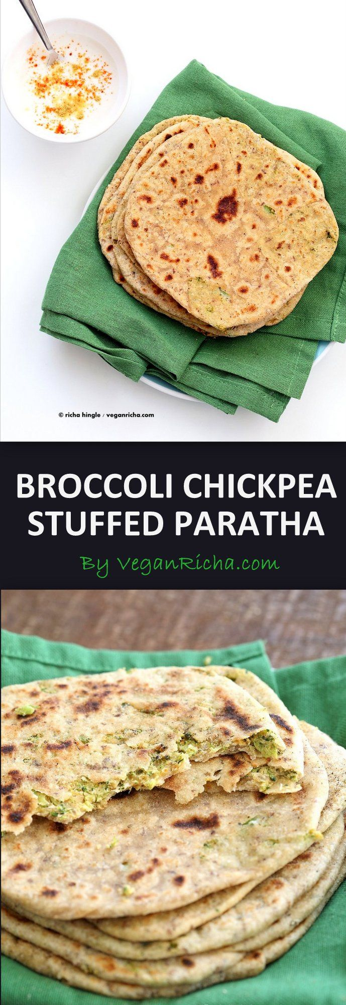 Broccoli Chickpea Stuffed Flatbread - Broccoli Paratha. Shredded broccoli, mashed chickpeas and spices stuffed in a paratah flatbread.