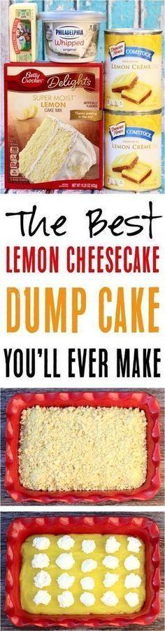 Easy Lemon Cheesecake Dump Cake Rezept! So ein köstliches, zitrisches Dessert …