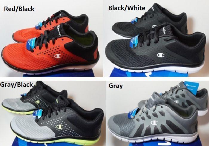 NEW CHAMPION MEN'S [MEMORY FOAM]GUSTO Runner Shoes Size: 8 #BLACK/WHITE/RED/GRAY #Champion #RunningCrossTrainingWalking