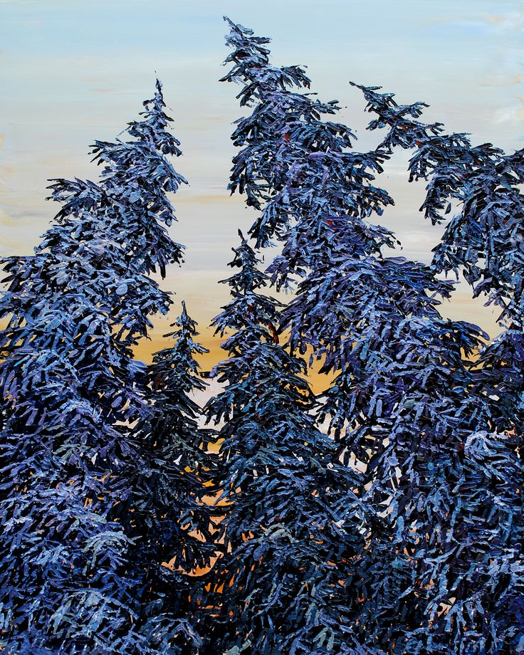Looking Up Pine Trees - original painting by Maya Eventov at Crescent Hill Gallery