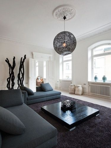 Living room / modern interior design & decor - black sofas