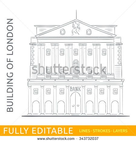 The Bank of England. Sketch line flat design of business city architecture, famous building of London. Modern vector illustration concept. Fully editable outlines, saved brushes and layers.
