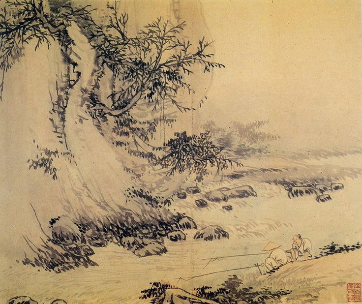 Kim Hong-do, 병진년화첩 중 조어산수도. 1796년, 지본담채, 26.7 x 31.6cm, 호암미술관 소장.