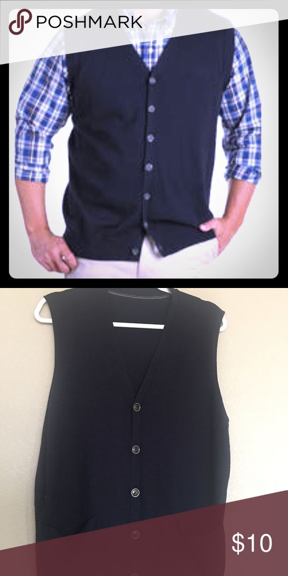 Gap Men's 💯 wool sweater Vest New Gap button down sweater vest in navy blue color. Straight from GAp factory and is tagless. Priced accordingly. Size Medium GAP Sweaters V-Neck